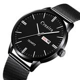 Mens Watch Deep Blue/Black Watch/Ultra Thin Wrist Watches for Men/Fashion Watch/Waterproof Dress Stainless Steel Band-Black face Silver Pointer