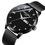Mens Watch Deep Blue/Black Watch/Ultra Thin Wrist Watches for Men/Fashion Watch/Waterproof Dress Stainless Steel Band-Black six-Pointer Diamond