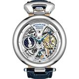 Stührling Original Mens Skeleton Watch Dial Automatic Watch with Calfskin Leather Band and - Dual Time, AM/PM Sun Moon, 3919 Mens Watches Collection (Silver Blue)