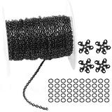 30 Feet Black Stainless Steel Flat Cable Chains Link Spool Bulk with 20 Lobster Clasps and 50 Jump Rings for Pendant Necklace Jewelry DIY Making