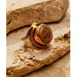 Anju Women's Rings - Unakite & Stainless Steel Adjustable Cuff Ring