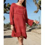 Ananda's Collection Women's Casual Dresses rust - Rust Embroidered Back-Tie Ruffle-Hem Shift Dress - Women