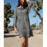 Ananda's Collection Women's Casual Dresses gray - Gray Embroidered Back-Tie Ruffle-Hem Shift Dress - Women