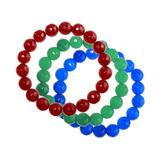 """""""Blue Green Red Faceted Agate Stretchy 3-piece Bracelet Set, Women's, Size: 7.5"""""""", Multicolor"""""""