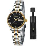 Women Watch with Day and Date,Female Watch for Small Wrist,Stainless Steel Watches for Women,Black Roman Numerals Watch Women,Ladies Wrist Watches with Date,Luminous Dial Watches for Women