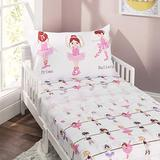 EVERYDAY KIDS 3-Piece Toddler Fitted Sheet, Flat Sheet and Pillowcase Set - Born to Dance Ballerina - Soft Microfiber, Breathable and Hypoallergenic Girls Toddler Sheets Set - Toddler Bed Sheets