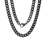 Steel Time Men's Necklaces black - Black Stainless Steel Curb Chain Necklace