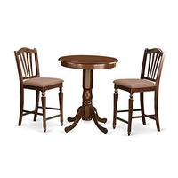 East West Furniture EDCH3-MAH-C 3 Piece Pub Table and 2 Kitchen Chairs Set, Mahogany
