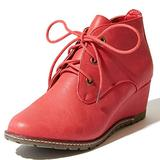 Women's Lace Up Oxford Wedge Booties Bootie Ankle Fashion Boots Fall Winter Comfort Heels High Shoes Party Evening Round Toe for Women Amanda-01 Red Pu 5.5