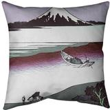 East Urban Home Katsushika Hokusai Tama River in Musashi Province Euro Pillow Leather/Suede in Red, Size 26.0 H x 26.0 W in | Wayfair