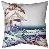 East Urban Home Tea House at Koishikawa Throw Pillow Down/Feather in Red/Blue/Brown, Size 14.0 H x 14.0 W x 3.0 D in   Wayfair