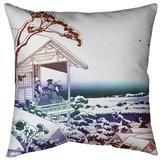 East Urban Home Katsushika Hokusai Tea House at Koishikawa Euro Pillow Down/Feather in Red/Blue/Brown, Size 26.0 H x 26.0 W x 9.5 D in   Wayfair