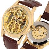 Gold Skeleton Automatic Mechanical Watch for Men, Brown Leather Strap Automatic Mechanical Watches for Male, Fashion Luxury Automatic Mechanical Watch for Businessmen- JLYSHOP
