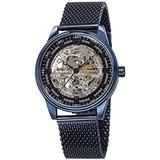 Akribos Automatic Skeleton Mechanical Men's Watch - Luxury Professional Mesh Bracelet See Through Dial - IP Case with A Skeletonized Dial - AK1074BU (Blue On Blue Band)