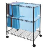 Zipperl Mobile File Cart on Wheels Wire Metal Rolling Letter Legal File Carts Compact Swivel File Storage Organizer Shelf - Black (2 Tier-ll)