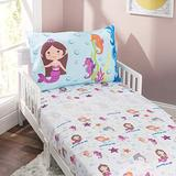 EVERYDAY KIDS 3-Piece Toddler Fitted Sheet, Flat Sheet and Pillowcase Set - Mermaids Undersea Adventures - Soft Microfiber, Breathable and Hypoallergenic Girls Toddler Sheets Set - Toddler Bed Sheets