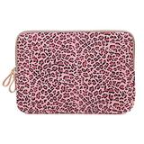 XSKN Canvas Fabric Stylish Leopard's Spots Print Style Laptop Sleeve Computer Protective Carrying Case Bag Cover for iPad/MacBook/Dell/HP/Lenovo etc. (Pink, 15.6 inch)