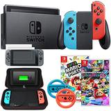 Nintendo Switch 32 GB Console with Neon Blue and Red Joy-Con + Party Games Bundle