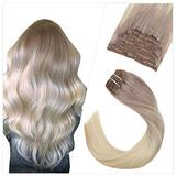 Ugeat Human Hair Clip in Extensions 22 Inch Remy Human Hair Extensions Clip in Blonde Ombre to Platinum Blonde Balayage 10PCS Real Hair Clip in Extensions