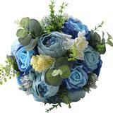 Abbie Home Cascading Bride Bouquets - Artificial Wedding Flower White Rose Calla Lily Bouquet - White Satin Ribbon Handle Décor (No Rhinestone Version)
