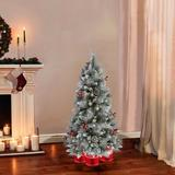 The Holiday Aisle® Blue/Green Pine Artificial Christmas Tree Metal in Brown, Size 54.0 H x 32.0 W x 32.0 D in | Wayfair