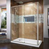"""DreamLine Semi-Frameless Shower Enclosure 60"""" x 74.75"""" Rectangle Pivot Shower Enclosure w/ Base Included in White, Size 74.75 H x 60.0 W x 36.0 D in"""