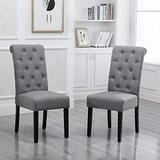 HomeSailing Modern Pair Grey Dining Chair Set of 2 Comfy Fabric Upholstered with Button for Kitchen Restaurant Living Room Soft High Back Side Chairs for Bedroom Lobby Office Reception Room (Gray)