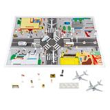 Hey! Play! Airport Playset – 43Piece Diecast & Plastic Airplane & Delivery Truck Toys with Mat & Accessories for Toddlers & Children