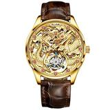 OUPINKE Watches for Men Luxurious Manual Winding Tourbillon Mechanical Watch Man Waterproof High Hardness Sapphire Mirror Fashion Hollow Genuine Leather Strap Wrist Watch & High-end Gifts Box