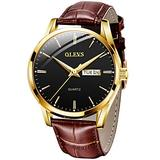 Men Watch Leather Brown Black Analog Quartz Casual Wristwatch for Men Father Boyfriend Day Date Waterproof Business Classy Simple Wrist Watches Gift (Brown Band & Black dial)