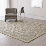 Global Views Geometric Handmade Tufted Gray/Beige/Taupe Area Rug Wool/Cotton, Size 120.0 H x 96.0 W x 0.75 D in | Wayfair PG9.90002
