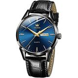 Mens Fashion Watches with Leather Band Day Date Watches for Men Blue Dial,Men Business Casual Dress Watch Classic Luminous Dial Wristwatch Men's Black Leather Waterproof,relojes de Hombre