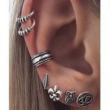 BeSheek Women's Earrings - Silvertone Fleur De Lis & Owl Ear Cuff & Stud Earring Set