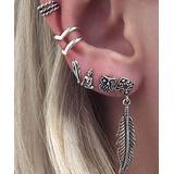 BeSheek Women's Earrings - Silvertone Long Feather & Owl Ear Cuff & Stud Earring Set