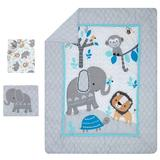 Bedtime Originals Jungle Fun Elephant Lion & Monkey Baby Nursery 3 Piece Crib Bedding Set Cotton Blend in Pink, Size 28.0 W in | Wayfair 207003V