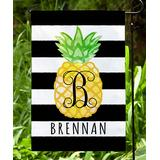 Personalized Planet Garden Flags Black/White - Black & White Stripe Pineapple Personalized Flag