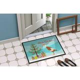 The Holiday Aisle® Calion Indian Runner Duck Christmas Non-Slip Outdoor Door Mat Synthetics in White, Size 24.0 W x 36.0 D in   Wayfair