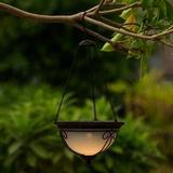 Fleur De Lis Living Gregor Solar Accent 1-Light Outdoor Hanging Lantern in White/Yellow, Size 2.4 H x 7.09 W x 7.09 D in   Wayfair