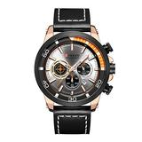 Quartz Mens Chronograph Sport Watch Military Army Watches Men Leather Date Wristwatches Clock Relogio Masculino (Rose Gold White)