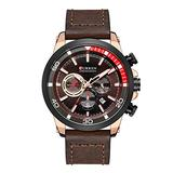 Quartz Mens Chronograph Sport Watch Military Army Watches Men Leather Date Wristwatches Clock Relogio Masculino (Rose Gold Brown)