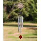 Exhart Windchimes Amber - Red Caged Glass & Metal Solar Light-Up Wind Chime