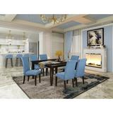 Winston Porter Marlene 7 - Piece Butterfly Leaf Solid Wood Dining SetWood/Upholstered Chairs in Blue/Brown, Size 30.0 H in | Wayfair