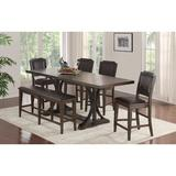 Pub Table - Winners Only, Inc. 5 Piece Pub Table Set, Wood/Upholstered Chairs/Solid Wood in Brown