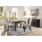 Gracie Oaks Densmore 7 Pieces Dining Set Wood/Upholstered Chairs in Brown/White, Size 30.0 H x 38.0 W x 64.0 D in | Wayfair