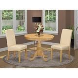 Charlton Home® Paramore 3 - Piece Solid Wood Dining Set Wood/Upholstered Chairs in Brown, Size 29.5 H x 36.0 W x 36.0 D in | Wayfair