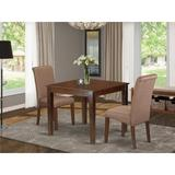 Winston Porter Kelsie 3 - Piece Solid Wood Rubberwood Dining Set Wood/Upholstered Chairs in Brown, Size 30.0 H x 36.0 W x 36.0 D in | Wayfair