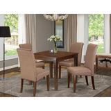 Winston Porter Araceli 5 - Piece Solid Wood Rubberwood Dining Set Wood/Upholstered Chairs in Brown, Size 30.0 H x 36.0 W x 36.0 D in | Wayfair