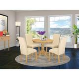 Charlton Home® Morganna Table 5 - Piece Rubberwood Solid Wood Dining SetWood/Upholstered Chairs in Brown, Size 30.0 H x 36.0 W x 36.0 D in | Wayfair