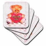 "3dRose 3dRose Ceramic Tile Coasters - Teddy Bear Loving You - set of 4 (cst_4363_3), Ceramic, Size 4""H X 4""W X 1""D | Wayfair"