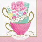 """The Party Aisle™ Floral Tea Party Teacup 6.5"""" Paper Disposable Napkins Paper in Green/Pink/Yellow   Wayfair B5C0FA60A07B4986BF34220C0F696DC1"""